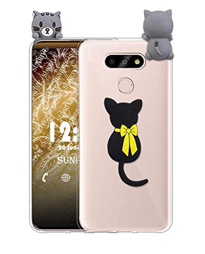Sunrive Kompatibel mit LG G5 SE Hülle Silikon, Handyhülle Transparent Schutzhülle Etui 3D Case Backcover (W1 Katze) MEHRWEG+Gratis Universal Eingabestift