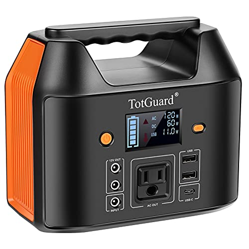 Portable Power Station, TotGuard 167Wh Camping Solar Generators Lithium Backup Battery with 110V/150W AC Outlets LED Flashlight for Home Outdoor Adventure Fishing Emergency Power Supply