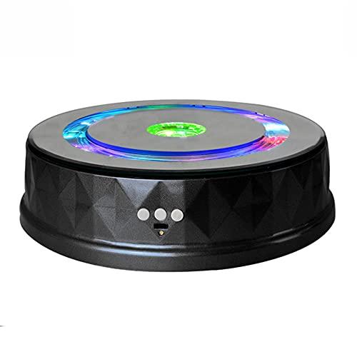 SGAIYUNRT Espositore Rotante Motorizzato USB, Base Girevole Musicale con luci a LED e Batteria, Angolo e Velocità Regolabili Nero   23cm Load 8kg