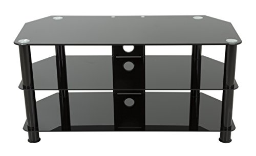 AVF SDC1000CMBB-A TV Stand with Cable Management for Up to 50-Inch TVs, Black Glass, Black Legs