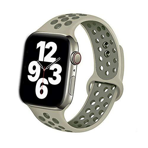MMOO Correa De Silicona para Apple Watch Band 38Mm 42Mm Accesorios Correa Deportiva Transpirable Pulsera para Iwatch Serie 5 4 3 Se 6 44Mm 40Mm, Niebla Vintage Liquen, Ml