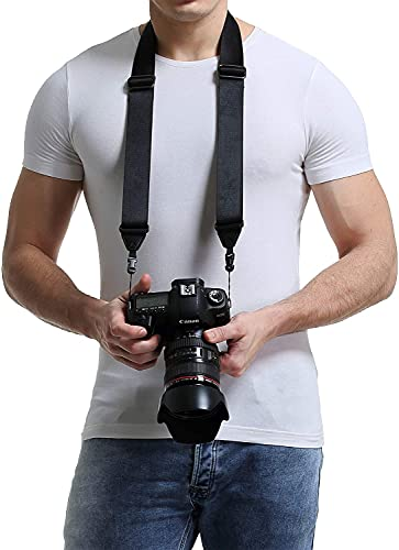 waka Rapid Slide Camera Neck Shoulder Strap with Quick Release, Adjustable Camera Sling Strap for Nikon Canon Sony Fuji Panasonic Olympus Pentax Any DSLR Camera, Black