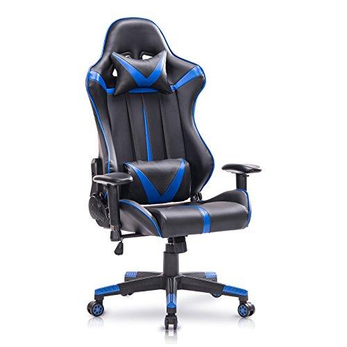 WOLTU® Racing Stuhl Gamingstuhl Bürostuhl Schreibtischstuhl Sportsitz mit Armlehne, mit Kopfstütze und Ledenkissen, mit Wippfunktion, höhenverstellbar, Sitzfläche aus Kunstleder, Weiß, BS13ws