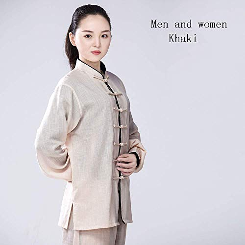 JTKDL Tai Chi Uniform Kleidung Qi Gong Kampfkunst Wing Chun Shaolin Kung Fu Taekwondo Trainingskleidung-Baumwolle Leinen,D-XS