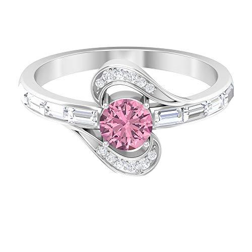 Anillo de compromiso de rubí, piedras preciosas redondas de 1,11 quilates, anillo de promesa solitario de diamante HI-SI de 5 mm, anillo de diamante baguette, 14K Oro blanco, Rubí, Size:US 52