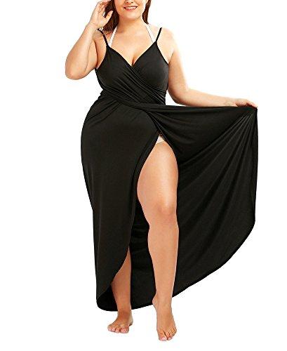 WEIMOB Pareo Cache Maillot de Bain Femme Sexy Cover Up Bikini Sarong Robe de Plage Bretelle Amincissante Col en V Portable Sechage Grande Taille Noir ,50(5XL)