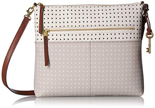Fossil Women's Fiona Faux Leather Large Crossbody Handbag, Hearts