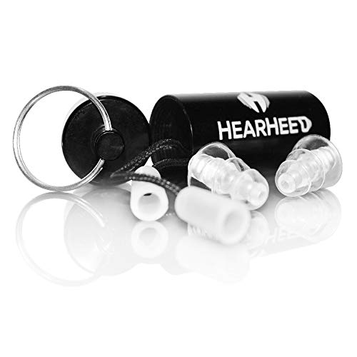 Hearheed High Fidelity Ear Plugs Noise Reduction - Hearing Protection Earplugs for Concerts Loud Live Music and More - DJs Clubbers Motorcycle Riding Construction Work Travel Flying Pressure Earplugs