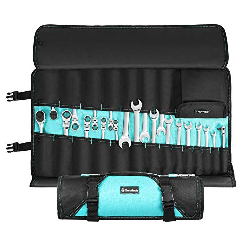 DURATECH 22-Pocket Roll Organizer, Oxford Cloth Folding Storage Bag Holding Wrenches Pliers Ratchets Screwdrivers Sockets, Roll Up Tool Bag without Tools for Electrician Plumber Carpenter Mechanic