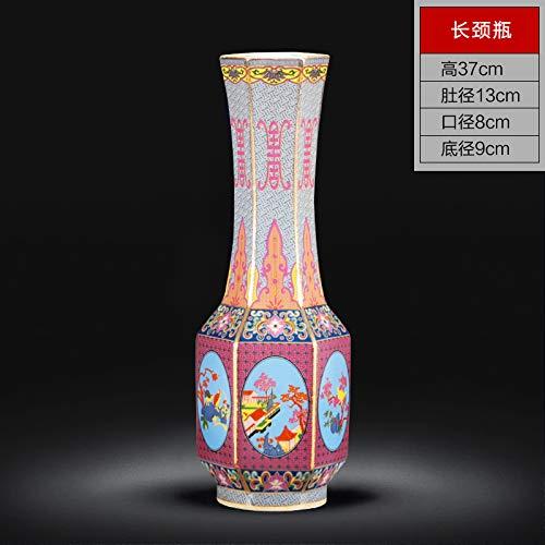suxiaopei Jingdezhen Keramik Vase Ornamente Farbe Europäischen Porzellanflasche Porzellan Moderne Home Wohnzimmer Weinschrank Dekoration langhalsige Flasche 13x37 cm
