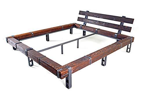 CHYRKA® Massivholzbett Balkenbett Bett Doppelbett Massivholz LEMBERG Loft Vintage Industrie Design Handmade Holz Metall (Natur, 180 x 200 cm)