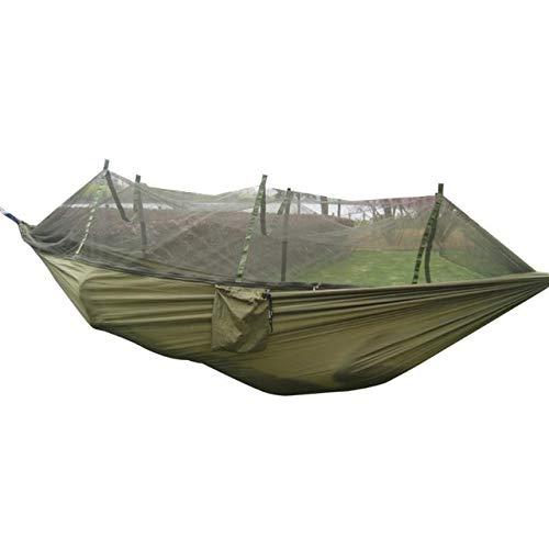 DFYUTJ Extérieur Portable moustiquaire Camping Hammock Jardin Voyage Balancez Parachute Tissu Accrocher lit hamac 260 * 130cm Drop Shipping hamac avec Support (Color : Army Green)