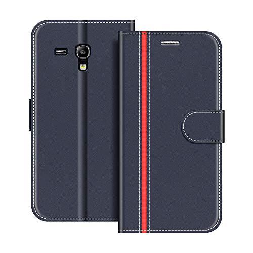 COODIO Handyhülle für Samsung Galaxy S3 Mini Handy Hülle, Samsung Galaxy S3 Mini Hülle Leder Handytasche für Samsung Galaxy S3 Mini Klapphülle Tasche, Dunkel Blau/Rot