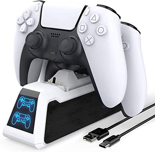 Base TwiHill para recarga do controlador PS5, controladores duplos atualizados compatíveis com carregador do controlador PS5, estação de carregamento rápido com indicador, proteção de chip de segurança