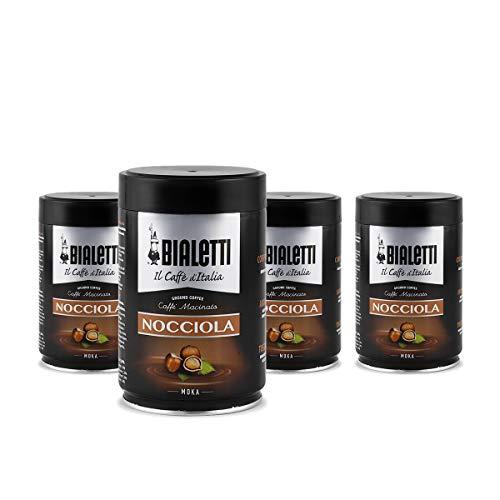 Bialetti Caffè Macinato, Gusto Nocciola - 4 x 250 gr