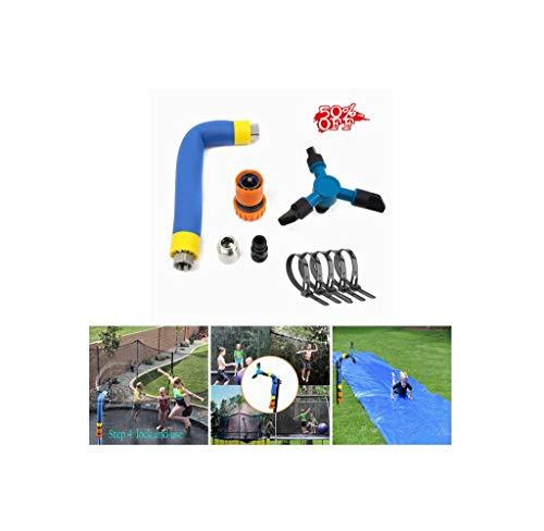 Ewendy Juego de rociadores de trampolín giratorio de 360 ° con caja de colores, juego de trampolín al aire libre para juegos de parque acuático, accesorios de trampolín, juguetes para niños y niñas