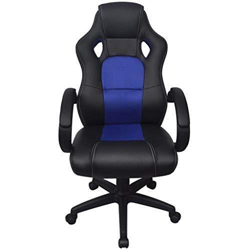 FKBED Sillas de Cuero de Juegos Silla giratoria Sillón Negro PU for el hogar y la Oficina del hogar Home Computer sillas de Escritorio