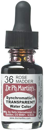 Dr. Ph. Martin's Synchromatic Transparent Water Color (36) Watercolor Bottle, 0.5 oz, Rose Madder