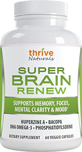 Thrive Naturals Super Brain Renew - Memory Supplement - Brain Food Made from Phosphatidylserine & Bacopa Extract - Best Vitamin Pills for Memory - 60 Vegetarian Capsules - 1 Month Supply (1 Pack) …