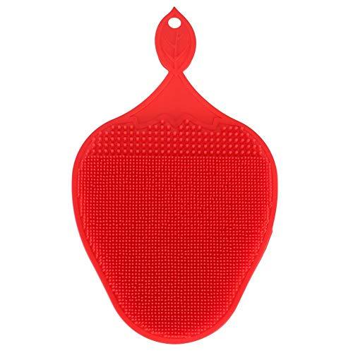 Reinigingsborstel, siliconen borstel, dubbelzijdig, anti-aanbaklaag, reiniging met spons Rood