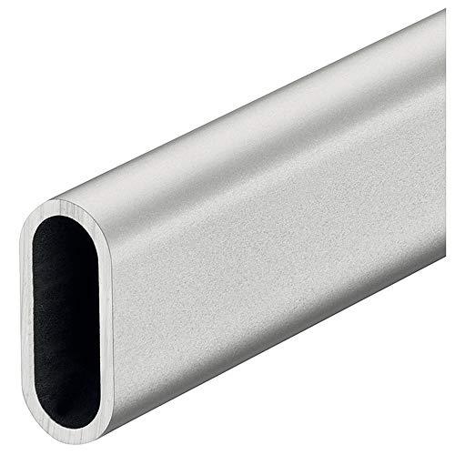 Gedotec Garderoben-Stange OVAL Schrankstange Kleider-Schrank | Kleiderstange Aluminium silber matt | Schrankrohr 1500 mm | Wäsche-Stange 30 x 14 mm | 1 Stück - Möbelrohr für Wand- & Decken-Montage