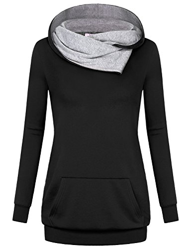 Miusey Sweatshirt Tunic, Women Pullover Hoodie Plain Knit T Shirt Mock Neck Sweater Banded Petite Hem Relaxed Fit Regular Modesty Panel Outdoor Clothes Soft Popover Blouse Top Black M