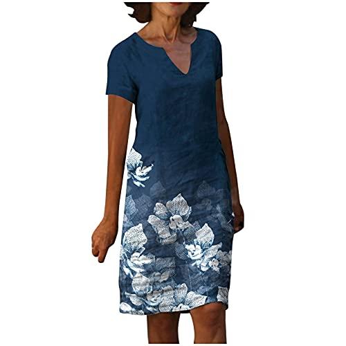 Vestido de verano para mujer, casual, vestidos de playa, de moda, casual, de manga corta, con cuello en V, estampado floral, suelto, vestido de tirantes