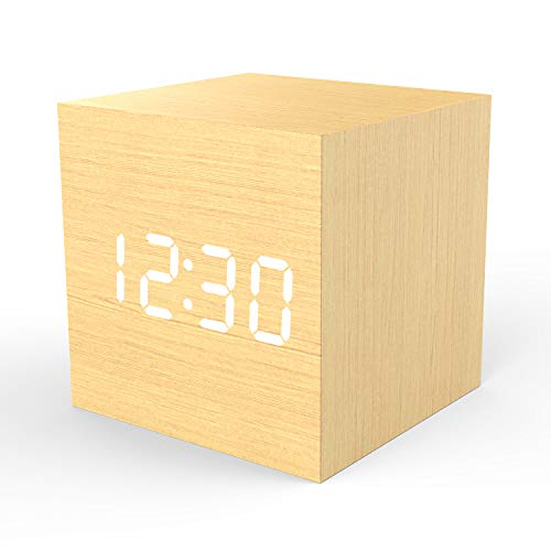 Wooden Digital Alarm Clock Cube Little Clock, Topacom LED Table Clock USB / Battery Powered for Heavy Sleepers, Kids, Bedrooms with Adjustable Brightness Voice Control, Bamboo Color