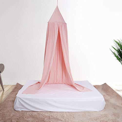 Aigend Moustiquaire de Lits Universel, Lit à Baldaquin Tente Ronde en Dôme pour Enfants Princesse Play Moustiquaire en Fil de Coton, Moustiquaire pour Lit d'enfants (Rose)