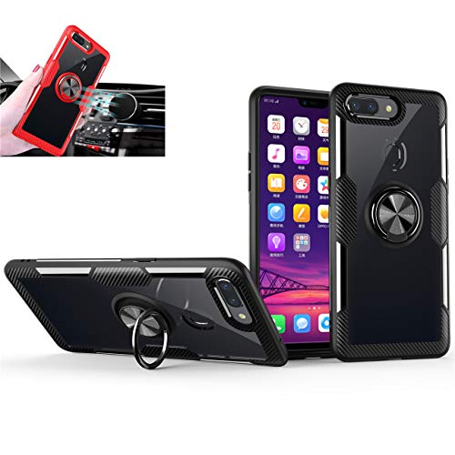 GarHold Oppo R15 Pro case,Silicone Shockproof TPU+PC,Transparent Tempering Protection Cover,360° Rotating Metal Ring Kickstand,car Holder case for Oppo R15 Pro (Black/Black)