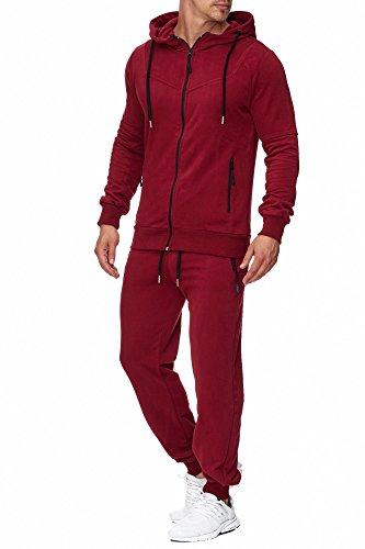 Tazzio Herren Sportanzug Jogginganzug Trainingsanzug Sporthose&Hoodie 17203 Bordo XL