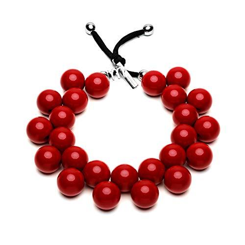 BallsMania Collar elástico color rojo pimienta, idea collar mujer, joyas de mujer, accesorios de moda, bisutería 100% Made in Italy