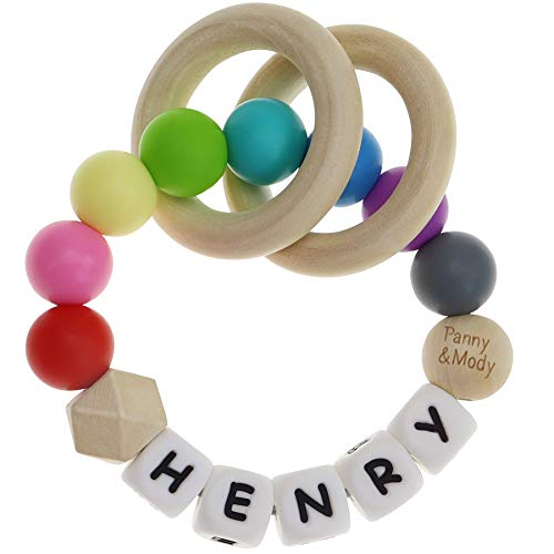 Personalized Name Baby Keepsake Rattles Teether for Boys and Girls Baby Shower - Silicone Sensory Teething Bracelet with Chewable Beads for Babies, Infants Toddler, Kids(Rainbow)