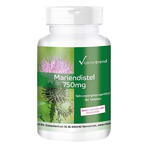 Mariendistel Extrakt 750mg - 80% Silymarin - 180 vegane Tabletten - Hochdosiert