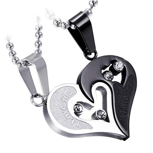 2 cadenas para parejas con forma de corazón, para 2 hombres y mujeres, de acero inoxidable, con colgante de puzle de corazón y brillantes, con cadena de 50 cm y 55 cm (negro)
