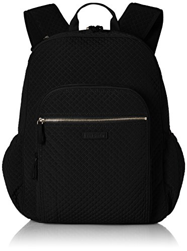 Vera Bradley Women's Microfiber Campus Backpack, Black Black, One Size
