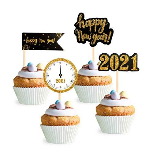 Dusenly 24 Piezas Feliz Año Nuevo Cake Topper 2021 Gold Glitter Cupcake Toppers 2021 Nochevieja Fiesta Pastel Decoraciones Favor