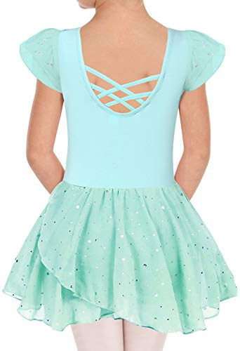 Girls Dance Outfits With Tutu Solid Colors Ballet Leotards Fancy Costumes Dancewear Attire With Skirt for Size 8 9 Dancer