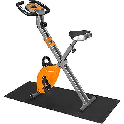 SONGMICS Bicicleta Estática, Bicicleta Fitness, Entrenador Plegable Indoor, 8 Niveles de Resistencia Magnética, con Alfombrilla, Sensor de Pulso, Soporte Telefónico, 100 kg Máx. Naranja SXB11OG