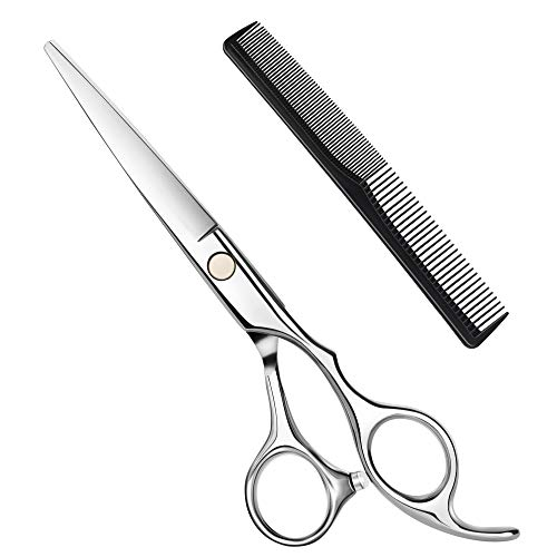 Hbaid Haarschere, Premium Friseurscheren Extra scharfe Friseurschere Edelstahl Haarschneideschere mit Kamm, Präziser Schnitt, Perfekter Haarschnitt für Kinder, Damen und Herren