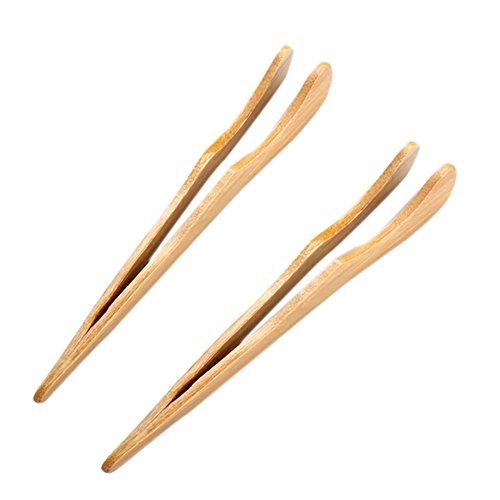 Ogquaton Pinzas de tostadora de madera, pinzas de cocina de bambú para...