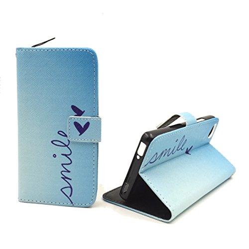 König Design Handyhülle Kompatibel mit ZTE Nubia Z9 Mini Handytasche Schutzhülle Tasche Flip Hülle mit Kreditkartenfächern - Smile Blau