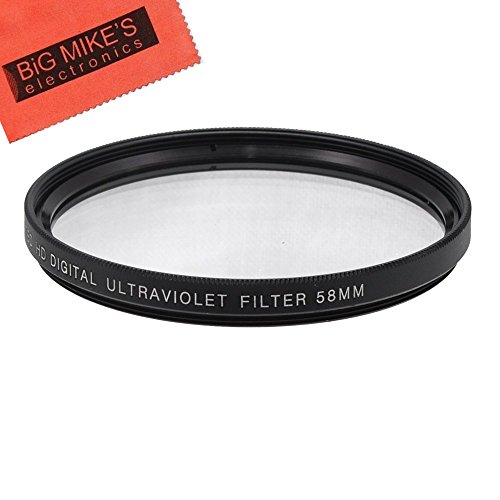 58mm UV Filter for Canon Rebel T5, T6, T6i, T7i, T8i, EOS 80D, EOS 90D, EOS 77D, SL3 Cameras with Canon EF-S 18-55mm is STM Lens