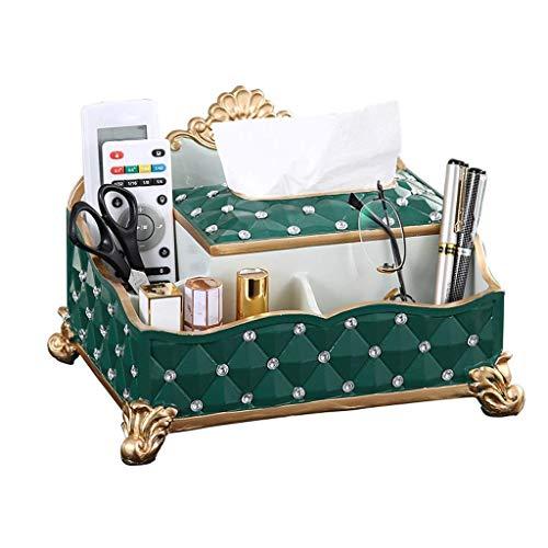 Caja de tejido retro de estilo europeo Herramienta de almacenamiento de escritorio multifunción para control remoto Decoración del hogar de la resina ecológica (color: verde) LNNDE ( Color : Green )