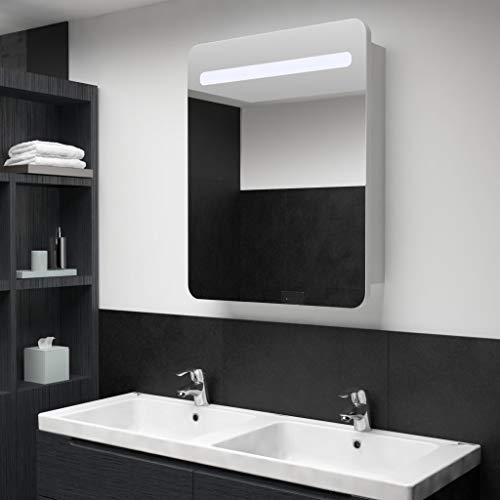 Cikonielf El armario de baño con espejo está equipado con una lámpara LED de espejo, con 2 estantes interiores para artículos de tocador y accesorios de maquillaje, diseño moderno de 60 x 11 x 80 cm.