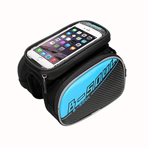 YUYAXBG Fiets Frame Tas 3-in-1 Ontwerp Met Touchscreen Fietstas Grote Capaciteit Ondersteuning Voor Smartphones Met Een Scherm Grootte van 5,5 Inch, blauw