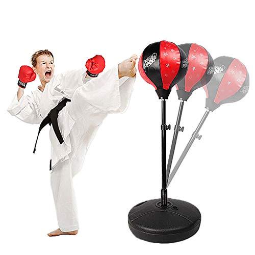 Saco De Boxeo Pesado para Niños, Saco De Boxeo Independiente con Soporte Y Base, Saco De Kickboxing para Niños De 3 a 10 Años, Fácil De Montar con Guantes De Boxeo