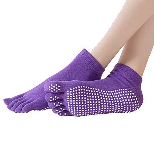 SZXCX Calcetines de Yoga Antideslizantes para Mujer Calcetines de Cinco Dedos Calcetines de Dedo de Masaje Calcetines de algodón de Tubo Corto de práctica de algodón