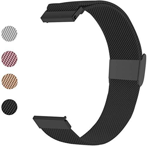 Mediatech Armband für Garmin Vivoactive 3 / Gear Sport, 20mm Stegbreite Edelstahl-Armband, Ersatz Uhrenarmband, Wechselarmband, mit Verschluss kompatibel für Samsung Galaxy Watch 42mm (Schwarz)