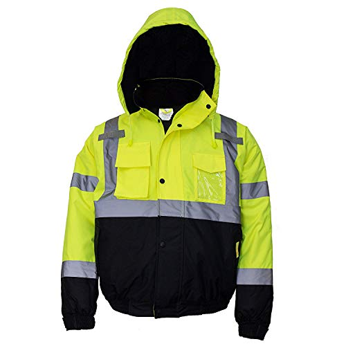 Troy Safety Workwear WJ9012 Men's ANSI Class 3 High Visibility Bomber Safety Jacket, Waterproof (Medium, Lime)